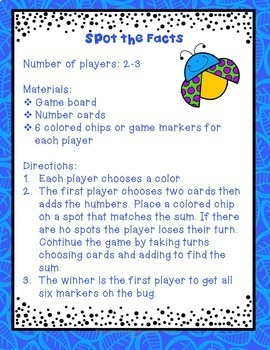 Addition Facts Game Sums to 20