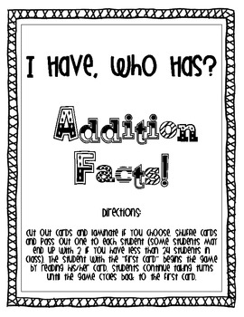 Addition Facts Game!
