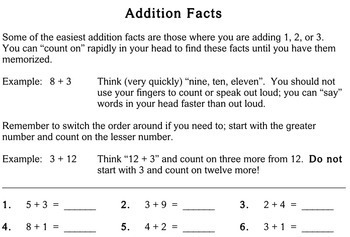 Addition Facts, 1st / 2nd grade - worksheets - Individualized Math