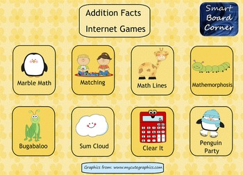 Addition Facts Internet Games SMART Board Math Center