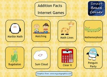 Addition Facts Internet Games SMART Board Math Center