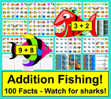Summer Math: Addition Facts Magnetic Fishing Activity - Shark Attack! 100 Facts