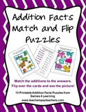 Addition Facts Match and Flip Puzzles