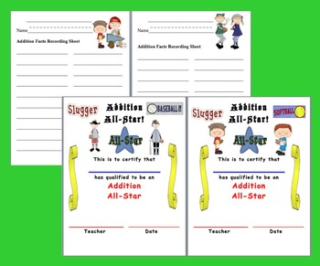Addition Facts Math Centers Activities Baseball - 4 ways to play-Common Core