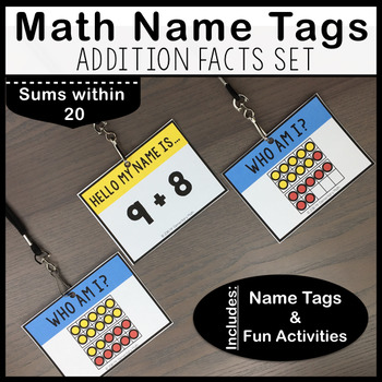 Addition Facts Math Name Tags - Sums within 20