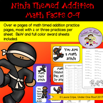 Addition Facts Math Practice: Ninja Themed