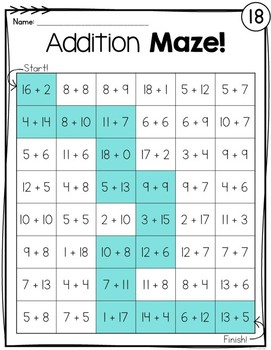 Addition Facts Mazes