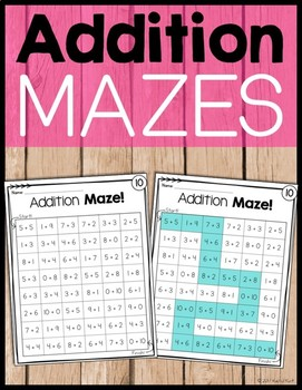 Addition Practice Mazes