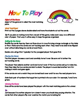 Addition Facts Memory Game For Rainbow 10s / Friendly 10s