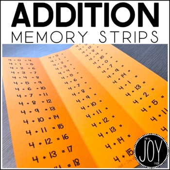 Addition Facts Memory Strips - Separated by Number Sets