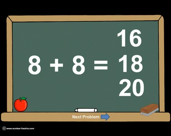 Addition Facts PowerPoint Quiz - Matching Worksheet & Key Included!