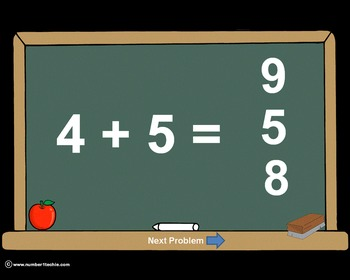 Addition Facts - PowerPoint Quiz - Matching Worksheet & Ke