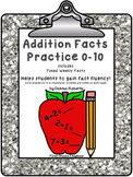 Addition Facts Practice 0-10 includes Timed Weekly Tests