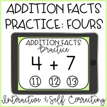 Addition Facts Practice: Fours Interactive PDF Paperless Digital
