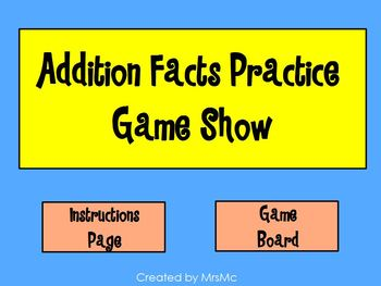 Addition Facts Practice Game Show