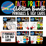 Addition Facts Practice Task Cards and Worksheets COMPLETE BUNDLE