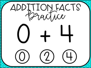 Addition Facts Practice: Zeros Interactive PDF Paperless Digital
