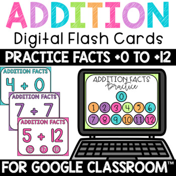 Addition Fact Fluency Practice 0-12 Digital FlashCards Interactive PDF Bundle