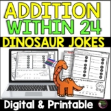 Addition Facts Practice with Dinosaur Jokes