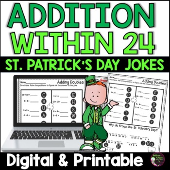Addition Facts Practice with St. Patrick's Day Jokes