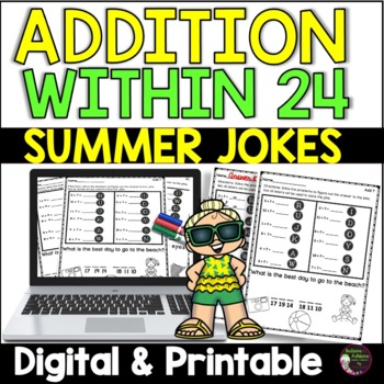 Addition Facts Practice with Summer Jokes