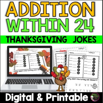 Addition Facts Practice with Thanksgiving Jokes