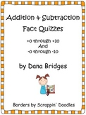 Addition Facts Quizzes +0 through +10 and Mixed Practice