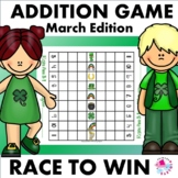 Addition Facts Race to Win Game St. Patrick Set