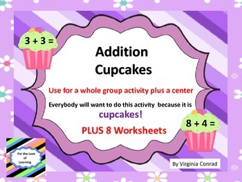 Addition Facts Review--center and worksheets--Cupcake Theme