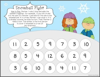 Addition Facts Snowball Fight - No Prep