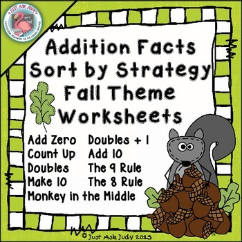 Addition Fact Strategies Fall Worksheets