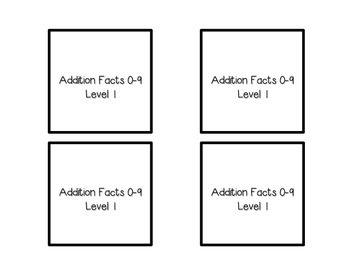 Addition Facts Square Puzzle-Level 1