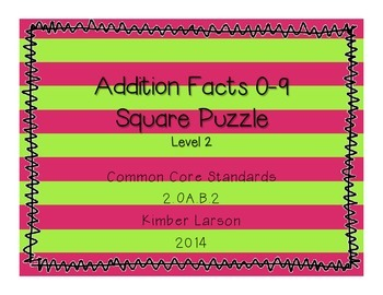 Addition Facts Square Puzzle-Level 2