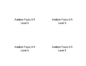 Addition Facts Square Puzzle-Level 3