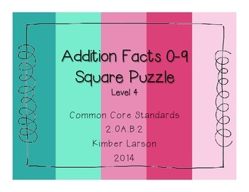 Addition Facts Square Puzzle-Level 4