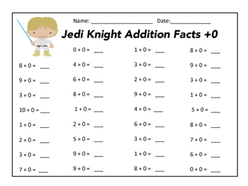 Addition Facts Star Wars Themed +0 through +10