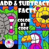 Zoo Safari Color by Number Addition & Subtraction BUNDLE