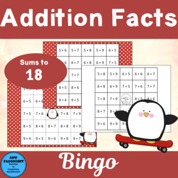 Addition Facts Sums 10 - 18 Bingo