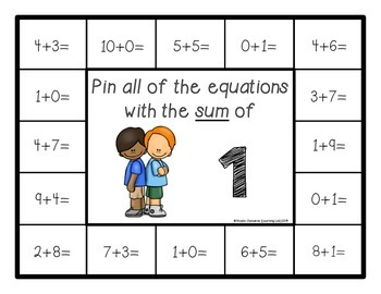 Addition Facts (Sums of 1-10) - Self-Checking Math Centers