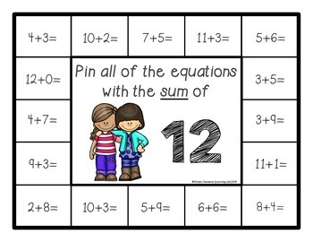 Addition Facts (Sums of 10-20) - Self-Checking Math Centers