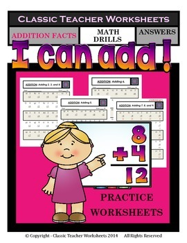 Addition Facts - Sums to 18- Math Drills-Practice Worksheets Grade 1 (1st Grade)