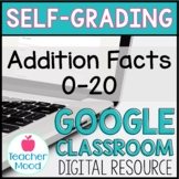 Digital Math Addition Facts Practice 0-20 Google Classroom
