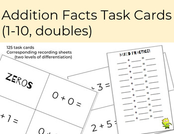 Addition Facts Task Cards