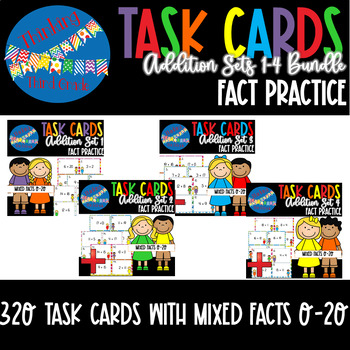 Addition Facts Task Cards BUNDLE 4 SETS 2nd 3rd 4th Grade SCOOT