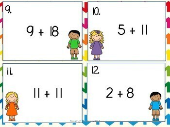 Addition Facts Task Cards SET 1 2nd 3rd 4th grade SCOOT