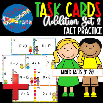 Addition Facts Task Cards SET 2 2nd 3rd 4th Grade SCOOT