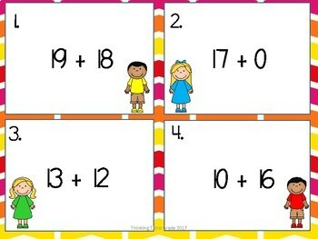 Addition Facts Task Cards SET 3 2nd 3rd 4th Grade SCOOT