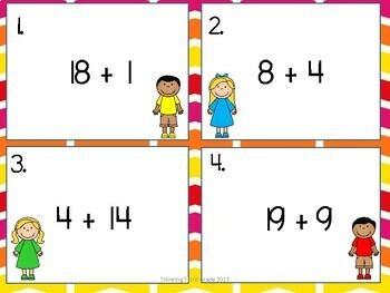 Addition Facts Task Cards SET 4 2nd 3rd 4th grade SCOOT