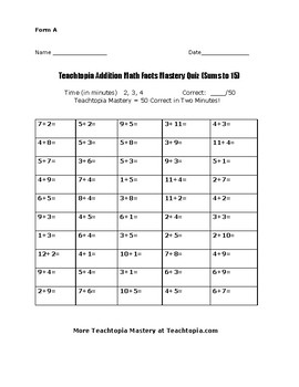 Addition Facts Teachtopia Math Sums to 15 Addition Timed Math Fact Quiz
