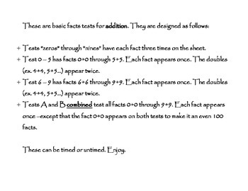 Addition Facts Tests 0 - 18